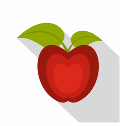 red apple with green leaves icon flat style vector image vector image
