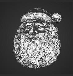santa face chalk drawing vector image vector image