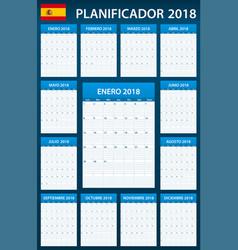 Spanish planner blank for 2018 scheduler agenda vector