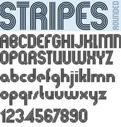 Stripes retro style graphic font alphabet vector image
