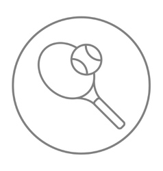 Tennis racket and ball line icon vector image