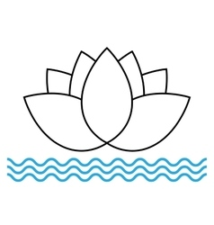 The lotus flower on the water icon vector