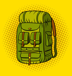 Tourist backpack pop art vector