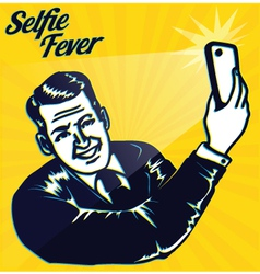 Vintage man taking selfie with smartphone camera vector