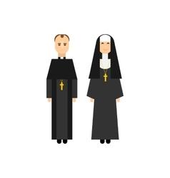 Catholic men and women monks vector image