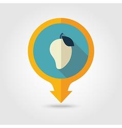 Mango flat pin map icon tropical fruit vector