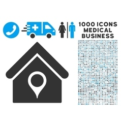 House Location Icon with 1000 Medical Business vector image