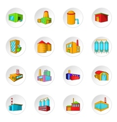 Factory plant icons set cartoon style vector