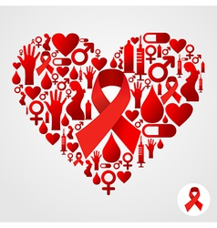Heart silhouette with AIDS icons vector image