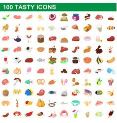 100 tasty icons set cartoon style vector image