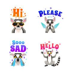 Lemur emotions polygonal icons set vector