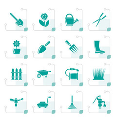 Stylized garden and gardening tools and objects vector