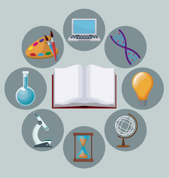 Color background open book with icons academic vector