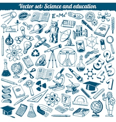 Science and education doodles icons set vector