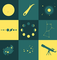 Space objects icons vector