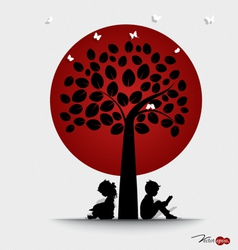 Valentine background with children read a book vector