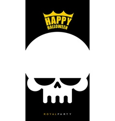 Invitational poster for Halloween White skull in a vector image