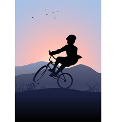 Boy riding a bicycle vector