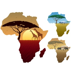 Africa map landscapes vector