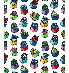 Owls hand drawn pattern vector image