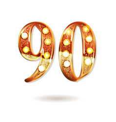 90 years gold anniversary vector
