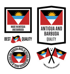 Antigua and barbuda quality label set for goods vector