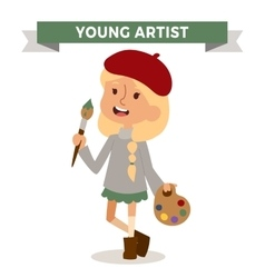 Artist girl with art brush isolated on white vector image vector image