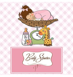 baby girl on on weighing scale vector image