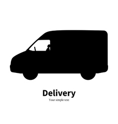Black silhouette of a truck delivery vector