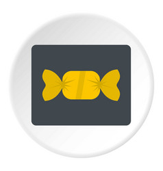 Candy in yellow wrap icon circle vector