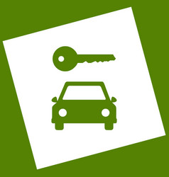 Car key simplistic sign white icon vector