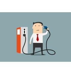 Cartoon businessman refuelling his brain vector