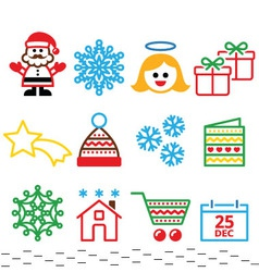 Christmas xmas celebrate icons set vector