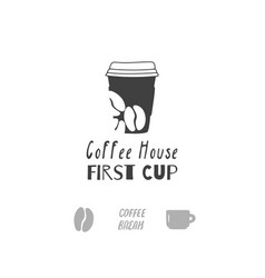 coffee shop logo template vector image vector image