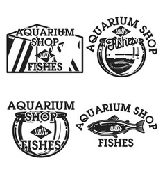 Color vintage aquarium shop emblems vector