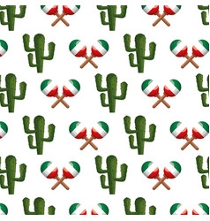 Colorful pattern maraca and cactus vector