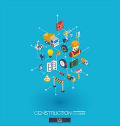 construction integrated 3d web icons digital vector image vector image