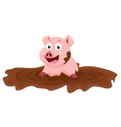 cute pig cartoon play with mud vector image