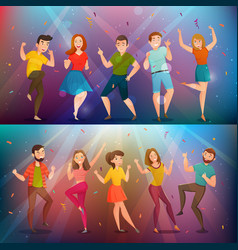 dancing people retro banners set vector image