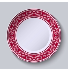 Decorative plate with floral painting on the edge vector image vector image