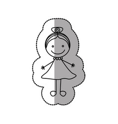 Figure happy girl with bow in the head icon vector