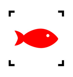 Fish sign red icon inside vector