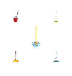 Flat icon cleaner set of broomstick cleaning vector