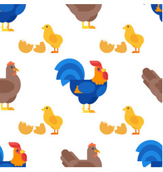 flat style seamless pattern with rooster hen and vector image vector image