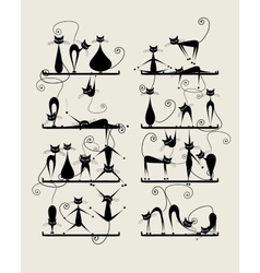 Funny black cats on shelves for your design vector image