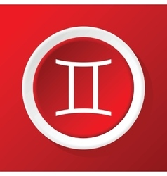 Gemini icon on red vector