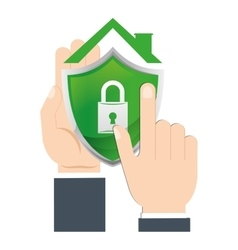 Hand holds shield home security vector