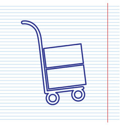 Hand truck sign navy line icon on vector