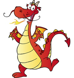 Happy Red Dragon Cartoon Character vector image vector image