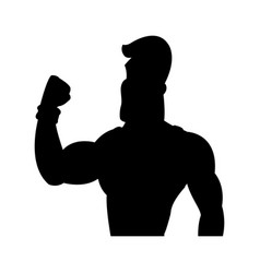 Man strong muscle bodybuilding sport pictogram vector